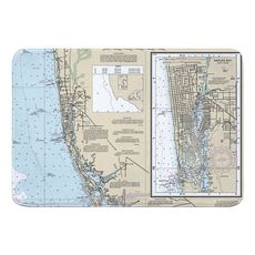 Naples, FL Nautical Chart Memory Foam Bath Mat