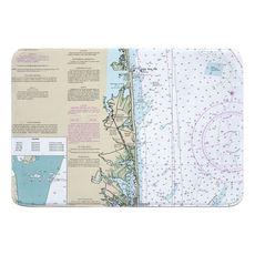 Bethany Beach, DE Nautical Chart Memory Foam Bath Mat