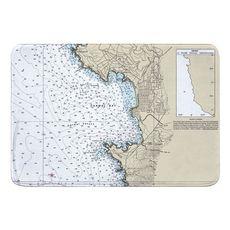 Carmel, Pebble Beach, CA Nautical Chart Memory Foam Bath Mat