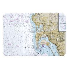 Ocean Beach, Coronado, CA Nautical Chart Memory Foam Bath Mat