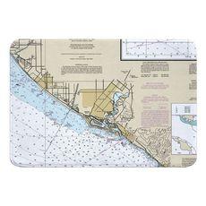 Huntington Beach, Newport Beach, CA Nautical Chart Memory Foam Bath Mat