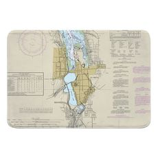 Olympia, WA Nautical Chart Memory Foam Bath Mat