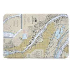 Portland, OR Nautical Chart Memory Foam Bath Mat