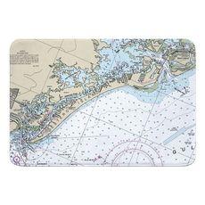 Estero Island, Fort Myers Beach, FL Nautical Chart Memory Foam Bath Mat