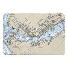 Cape Coral, FL Nautical Chart Memory Foam Bath Mat