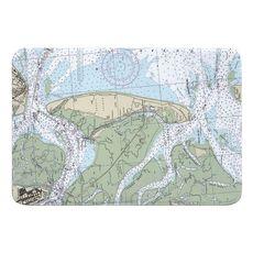 Jekyll Island, GA Nautical Chart Memory Foam Bath Mat