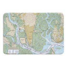 Brunswick, GA Nautical Chart Memory Foam Bath Mat