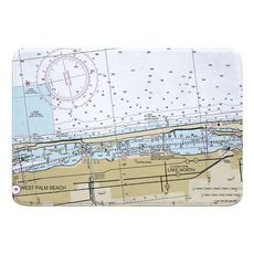 West Palm Beach, Lake Worth, FL Nautical Chart Memory Foam Bath Mat