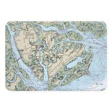 Port Royal Island, St. Helena Island, Fripp Island, Hunting Island, SC Nautical Chart Memory Foam Bath Mat