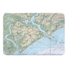Edisto Island, SC Nautical Chart Memory Foam Bath Mat