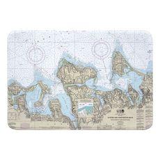 Oyster and Huntington Bays, NY Nautical Chart Memory Foam Bath Mat