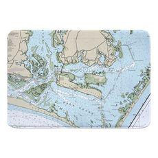 Harkers Island, NC Nautical Chart Memory Foam Bath Mat