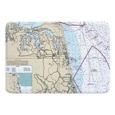 Virginia Beach, VA Nautical Chart Memory Foam Bath Mat