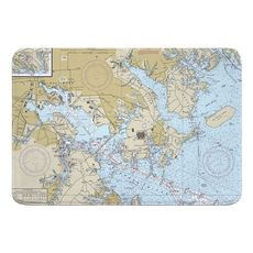 Approaches to Baltimore Harbor, MD Nautical Chart Memory Foam Bath Mat