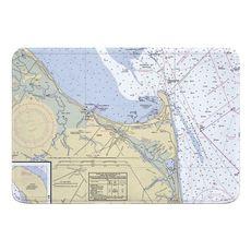 Lewes, Cape Henlopen, DE Nautical Chart Memory Foam Bath Mat