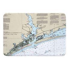 Swansboro, NC Nautical Chart Memory Foam Bath Mat