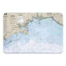 Apalachee Bay, FL Nautical Chart Memory Foam Bath Mat