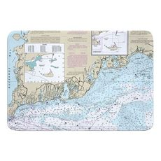 Falmouth, MA Nautical Chart Memory Foam Bath Mat