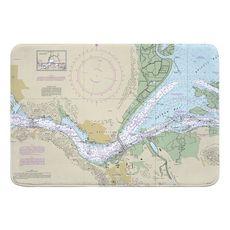 Benicia, CA Nautical Chart Memory Foam Bath Mat