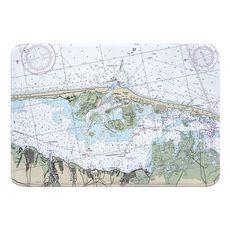 Barnegat Light, Harvey Cedars, NJ Nautical Chart Memory Foam Bath Mat