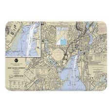 New Haven, CT Nautical Chart Memory Foam Bath Mat
