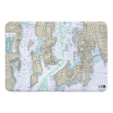 Newport, Jamestown, RI Nautical Chart Memory Foam Bath Mat