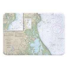 Duxbury, MA Nautical Chart Memory Foam Bath Mat