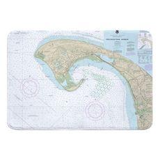 Provincetown, MA Nautical Chart Memory Foam Bath Mat