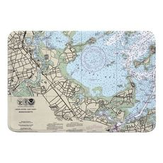 Quincy, MA Nautical Chart Memory Foam Bath Mat