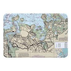 Hingham, MA Nautical Chart Memory Foam Bath Mat