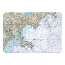 Lynn, Nahant, MA Nautical Chart Memory Foam Bath Mat