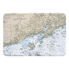 Manchester, MA Nautical Chart Memory Foam Bath Mat