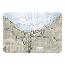 Milwaukee, WI Nautical Chart Memory Foam Bath Mat