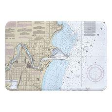 Sheboygan, WI Nautical Chart Memory Foam Bath Mat