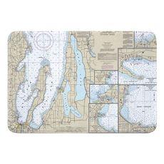 Traverse City, Torch Lake, MI Nautical Chart Memory Foam Bath Mat