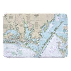 Beaufort Inlet, Core Sound, NC Nautical Chart Memory Foam Bath Mat