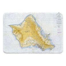 Oahu, HI, C. 1959 Vintage Nautical Chart Memory Foam Bath Mat