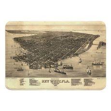 Key West, FL, C. 1884 Vintage Bird's Eye View Memory Foam Bath Mat