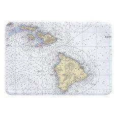 Hawaiian Southern Islands Nautical Chart Memory Foam Bath Mat