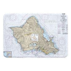 Oahu, HI Nautical Chart Memory Foam Bath Mat