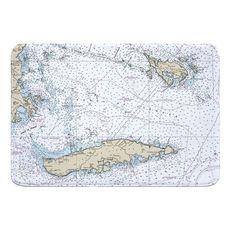 Vieques, Culebra, PR Nautical Chart Memory Foam Bath Mat