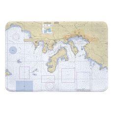 St. Thomas Harbor, USVI Nautical Chart Memory Foam Bath Mat