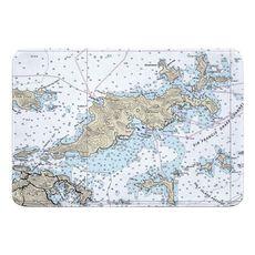 Tortola, BVI Nautical Chart Memory Foam Bath Mat