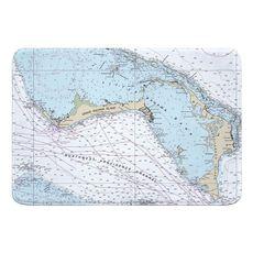 Grand Bahama, Abaco, Bahamas Nautical Chart Memory Foam Bath Mat