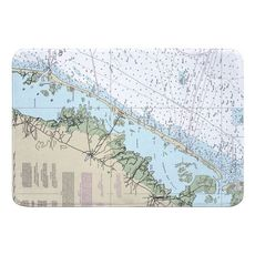 Long Beach Island, NJ Nautical Chart Memory Foam Bath Mat