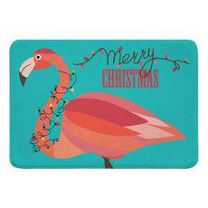 Flamingo Christmas Memory Foam Bath Mat