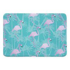 Pink Flamingos on Aqua Memory Foam Bath Mat