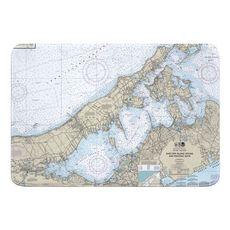Shelter Island Sound and Peconic Bays, NY Nautical Chart Memory Foam Bath Mat
