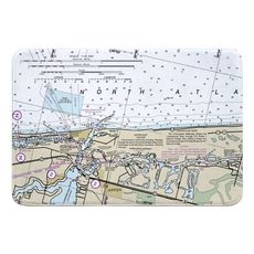 Jupiter Inlet, FL Nautical Chart Memory Foam Bath Mat