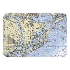 James Island, Folly Island, SC Nautical Chart Memory Foam Bath Mat